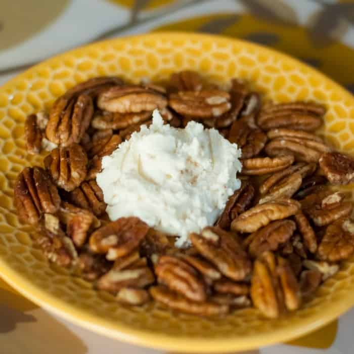Gluten free snack honeyed goat cheese and toasted pecans