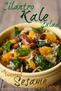 Cilantro Kale Asian Salad with Toasted Sesame Seed Dressing
