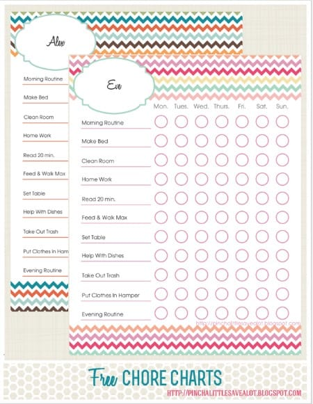 Free printable chore chart in chevron