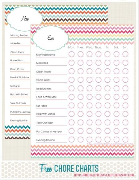 Free printable chore chart in chevron