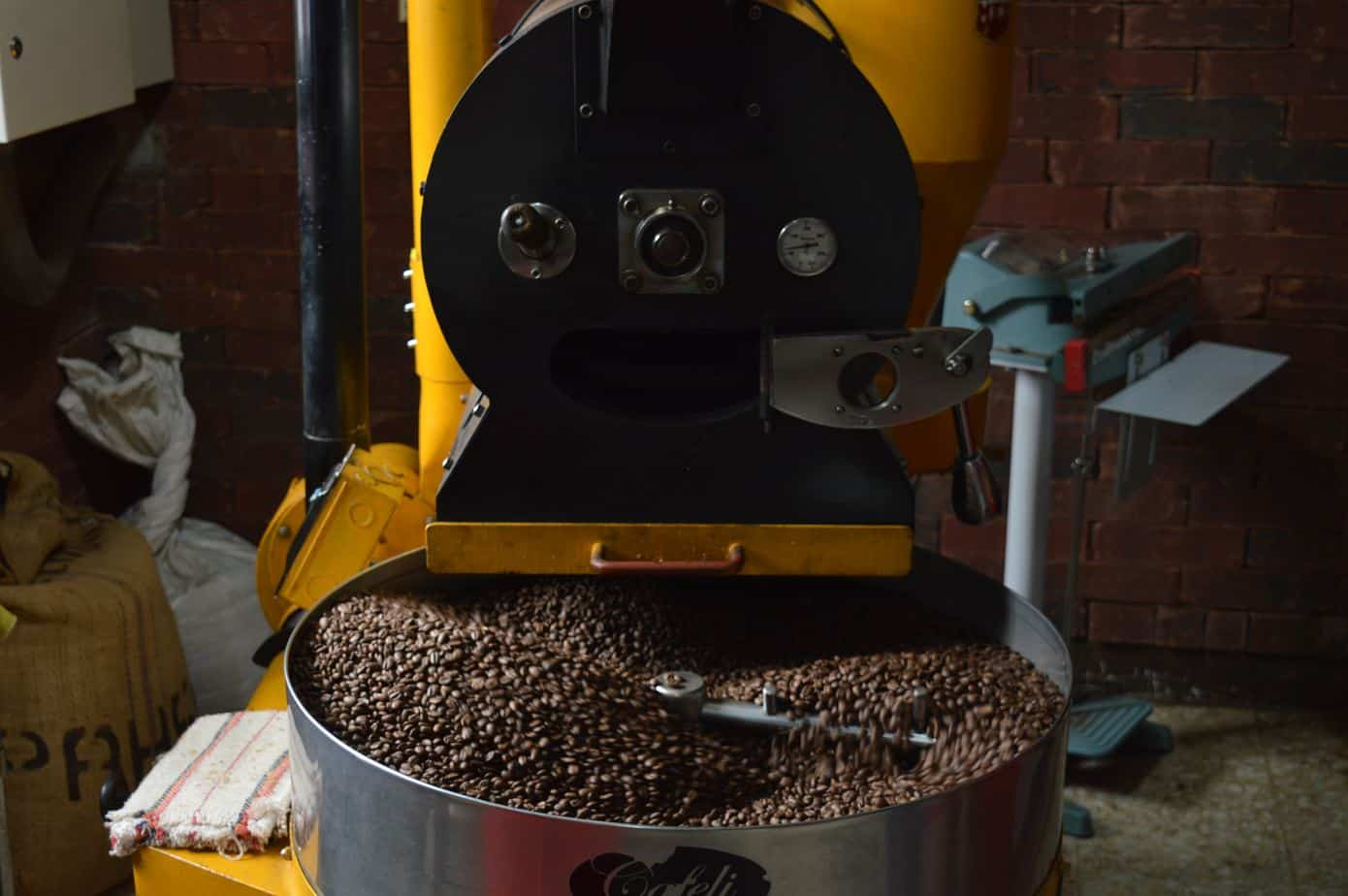A Coffee Roaster Roasting Coffee Beans