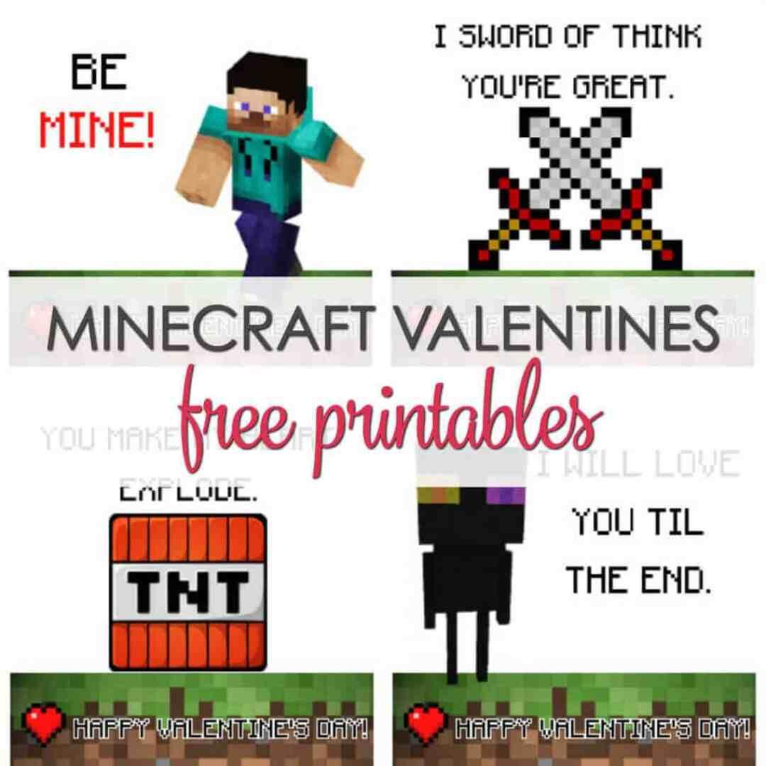 Minecraft Free Valentines Printable