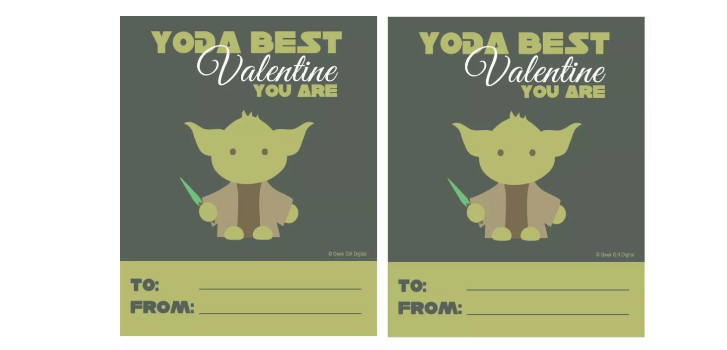 Free Printable Yoda Valentine