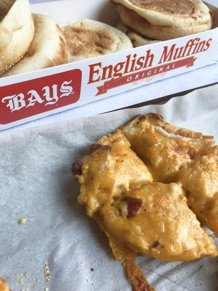 Bacon Cheddar Beer Bites on Bays English Muffins