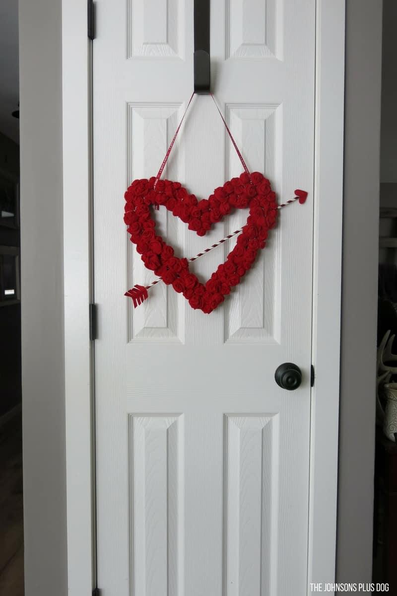 Heart Wreath with Felt Rosettes