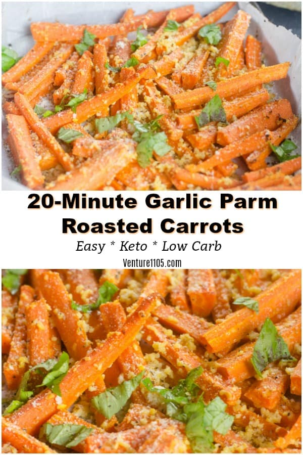 20-Minute Garlic Parmesan Roasted Carrots Keto Low Carb Side Dish