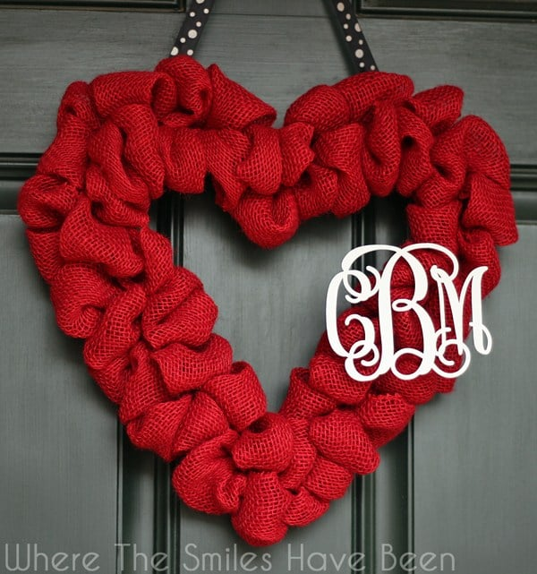 Red Burlap Heart Wreath with Monogram