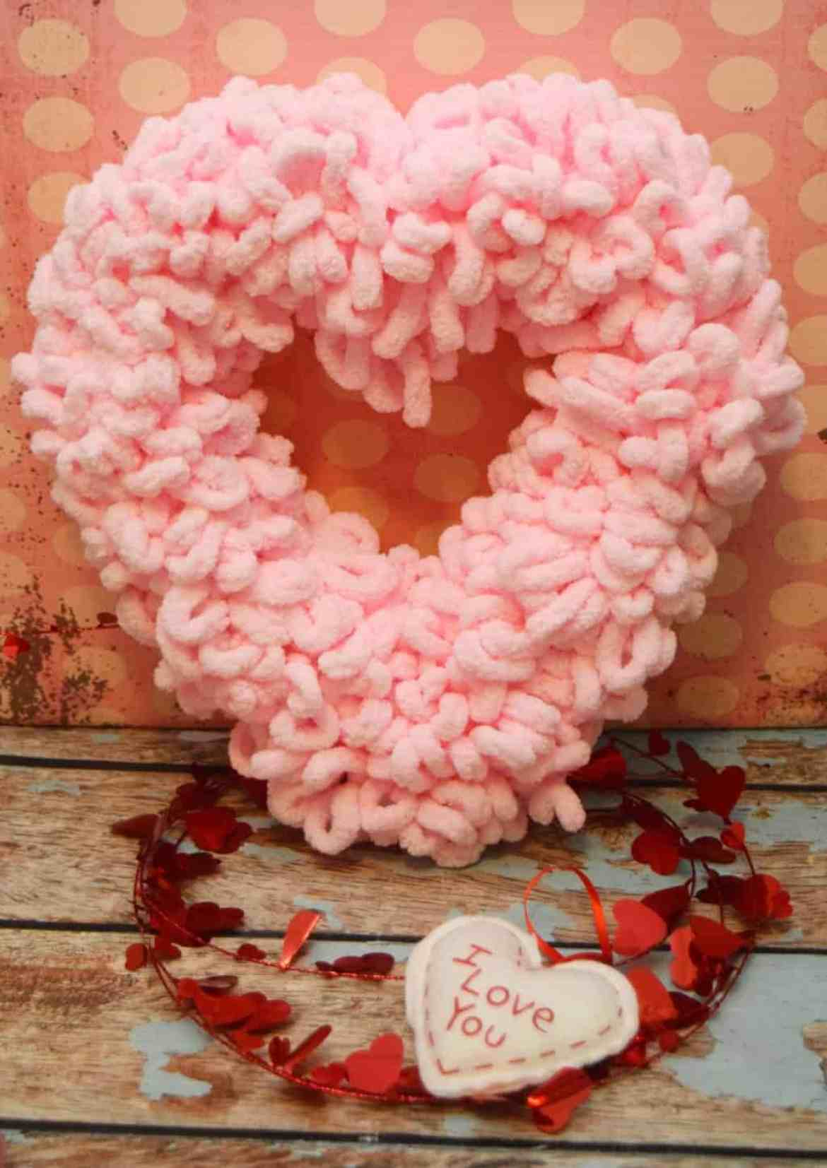 Heart Wreath Out of Loopy Yarn