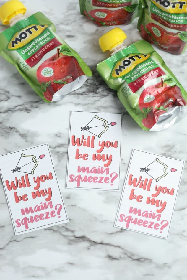 Valentines Supplies - cards and applesauce pouches