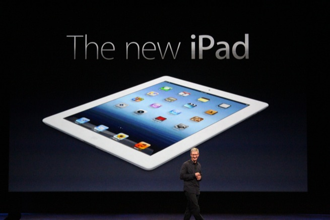 Apple CEO Tim Cook unveils the new iPad at an event in San Francisco, March 7, 2012.
