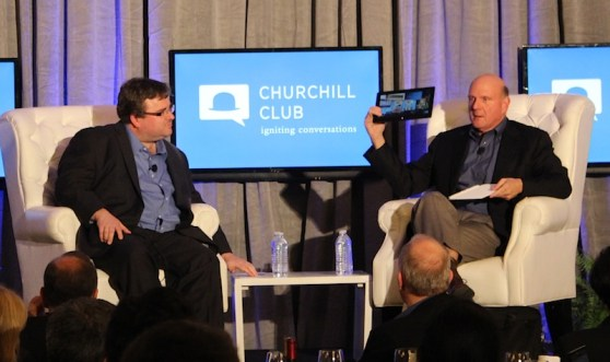 Reid Hoffman and Steve Ballmer onstage at the Churchill Club event