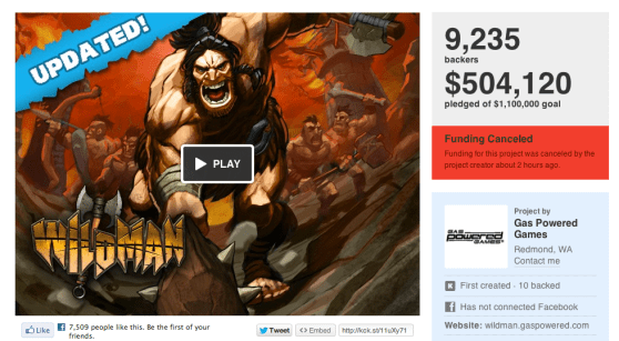 Kickstarter wildman cancelation