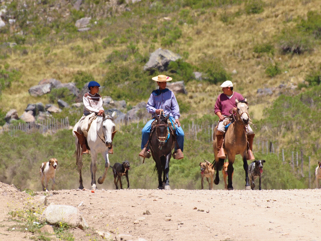 Gauchos in a Patagonian road close to the border between Chile and Argentina.