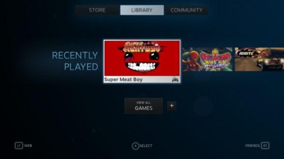 Valve's Steam service working on a TV.
