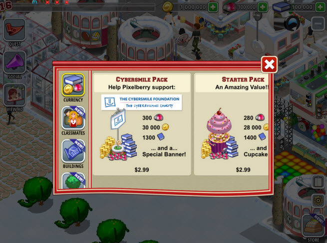 You can help stop cyberbullying by buying virtual items in High School Story. Proceeds will be donated to Cybersmile.