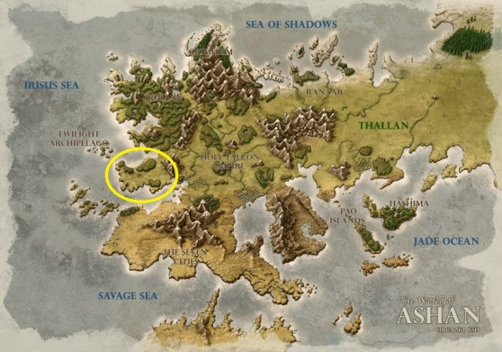 Might & Magic X Legacy takes place in the circled portion of this Might & Magic Heroes VI map.