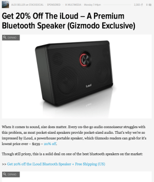 Selling the iLoud on Gizmodo