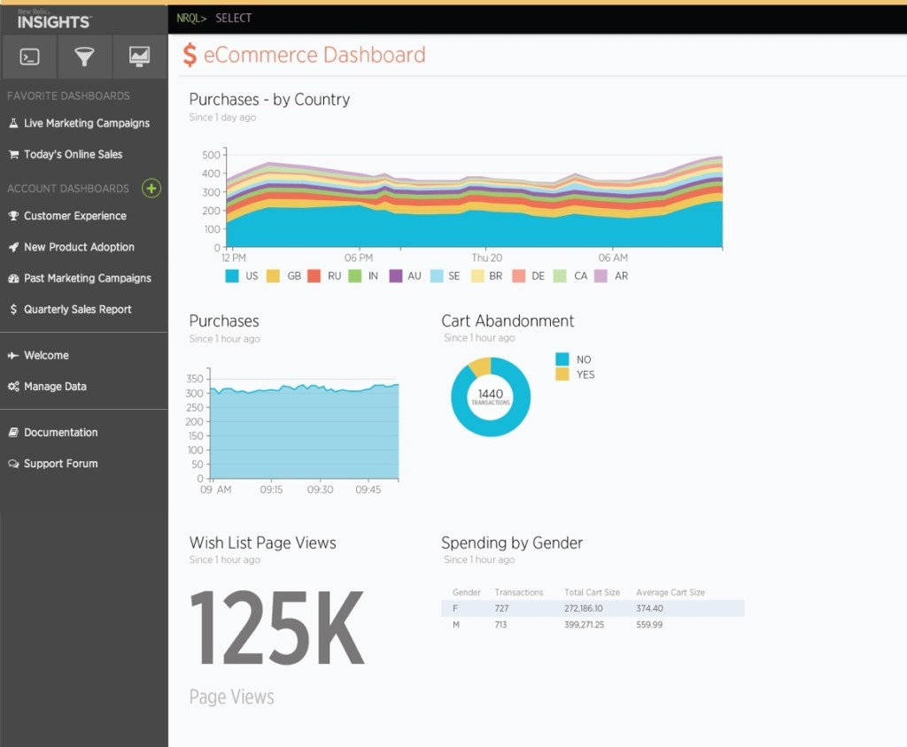 A New Relic Insights dashboard.