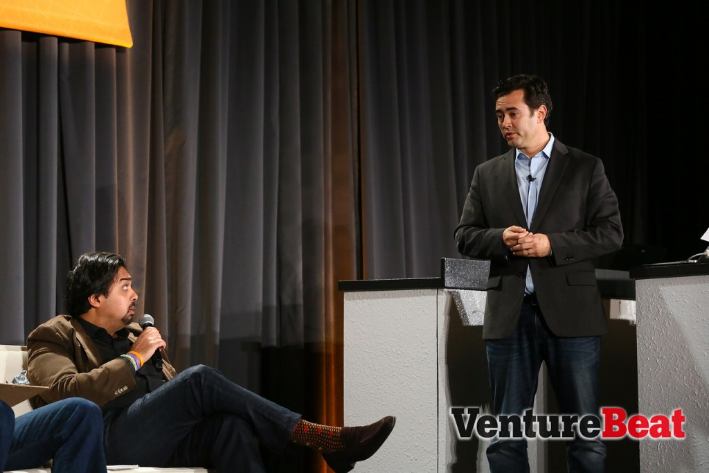 Josh Bloom, right, co-founder and chief technology officer at Wise.io, responds to panelists' questions during the Innovation Showdown at VentureBeat's DataBeat conference on Tuesday.
