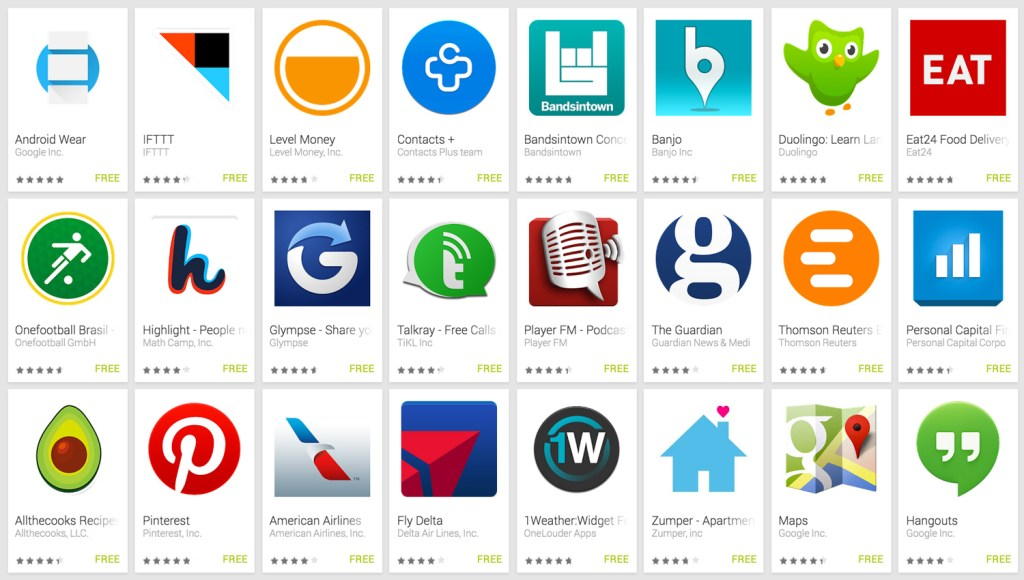 The first 24 apps for Android Wear.