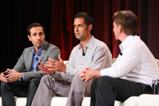 Living Social product VP Mike Bidgoli; Apploving co-founder and CEO Adam Foroughi; VentureBeat writer Mark Sullivan at MobileBeat 2014