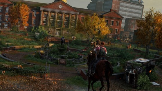Joel and Ellie on horseback in The Last of Us Remastered.