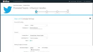 Creating a Twitter ad campaign through AdStage's platform.