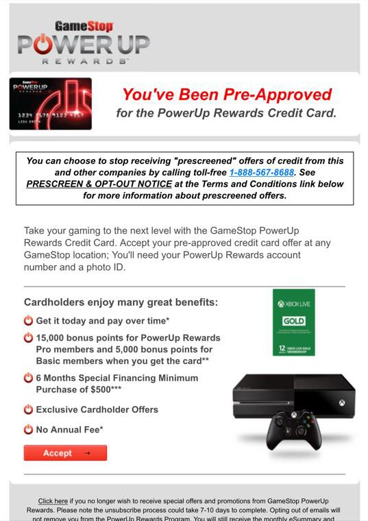 Gamestop Is Pushing Its Credit Card With Preapproved