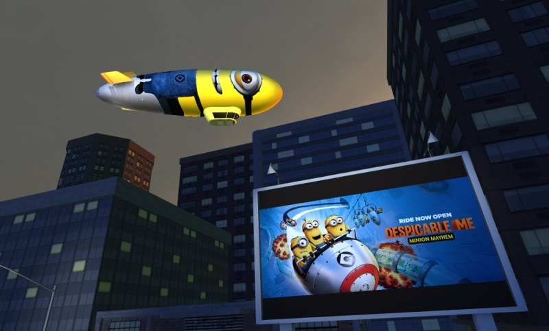 MediaSpike's 3D blimp ad and its outdoor movie screen.