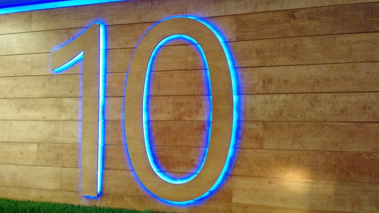 10, presumably standing for the coming Windows 10 release, at the Microsoft campus in Redmond, Wash., on Jan. 21.