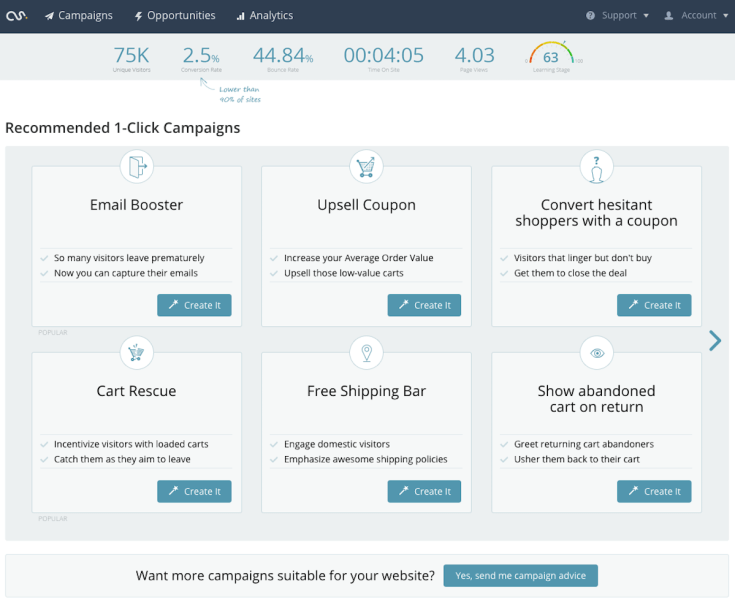 A menu of one-click campaigns in Commerce Sciences' updated platform.