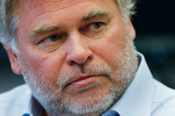 Eugene Kaspersky, chairman and CEO of Kaspersky Lab, listens to a question during an interview in New York March 10, 2015.