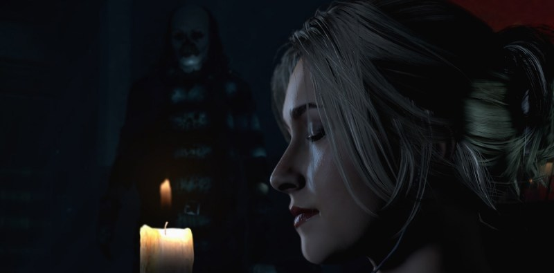 Samantha, played by Hayden Penetierre, is about to be in trouble as she takes a bath in Until Dawn.