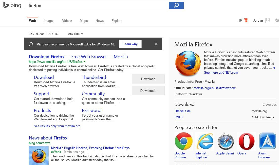 """What I saw in Bing in the Edge browser the first time I searched for """"firefox"""" on a new computer running Windows 10."""