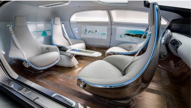 Mercedes reimagines its cars from the inside out with its F015 concept car.