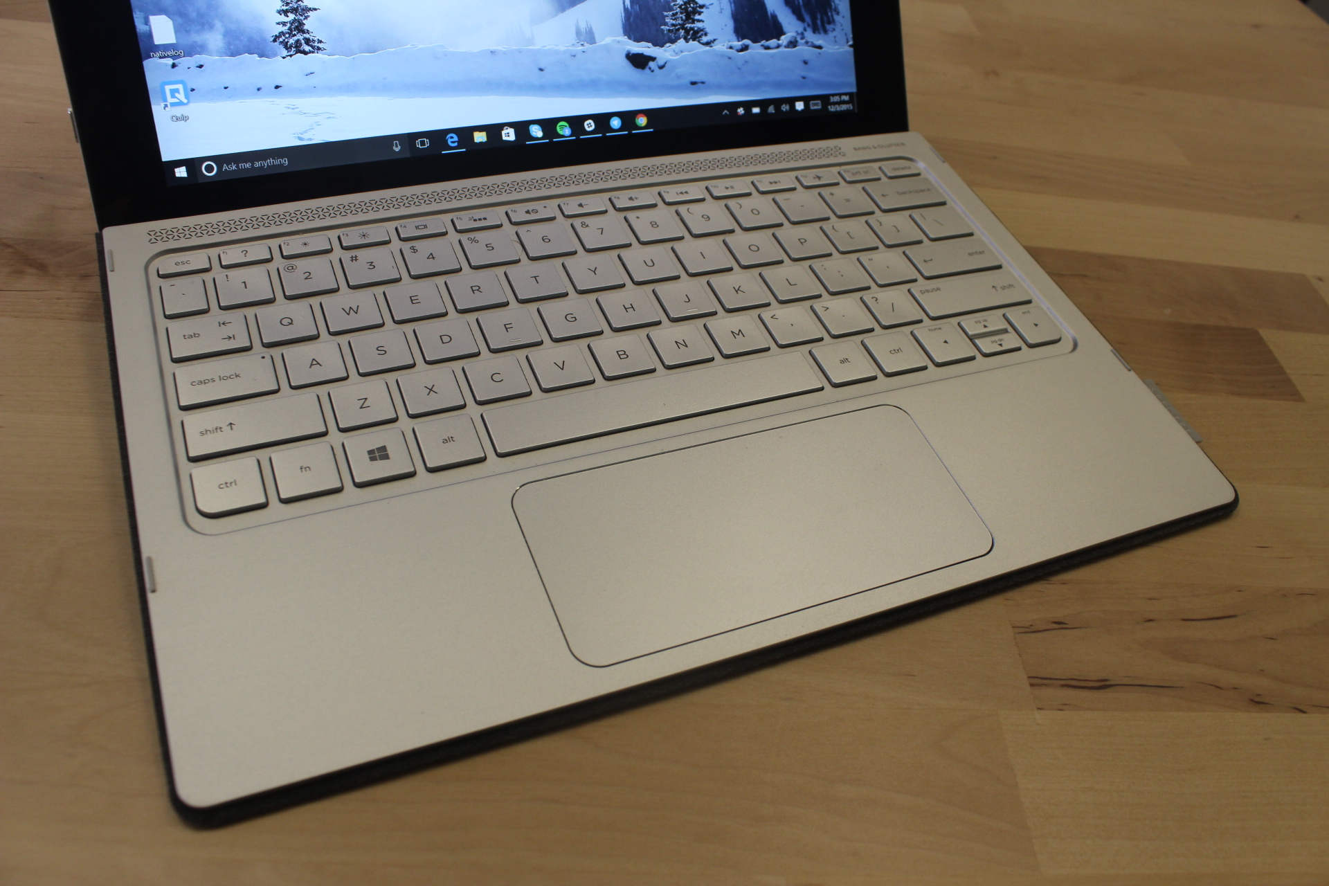 The HP Spectre x2's keyboard.