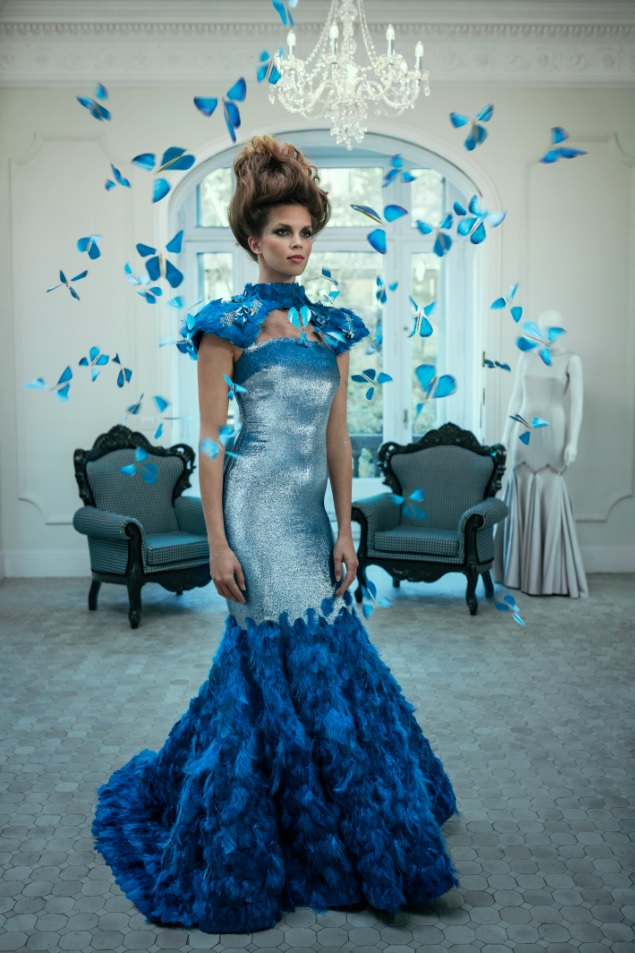 The intelligent butterfly dress is powered by Intel.