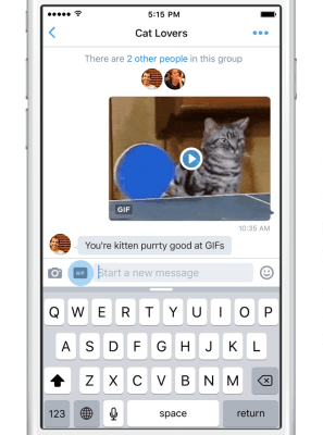 Twitter's native GIF button in direct messages.