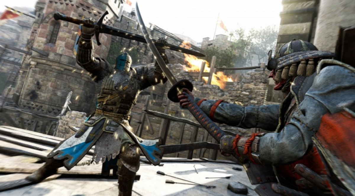 A French knight squares off against a samurai in For Honor.