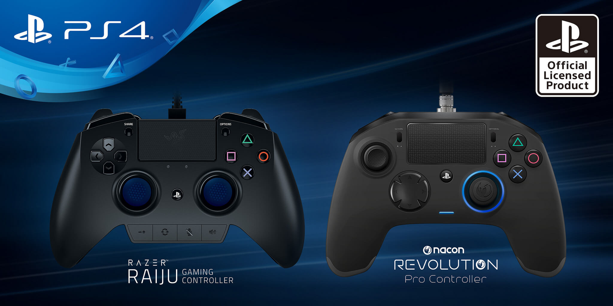 PlayStation 4 Razer and Nacon controllers.