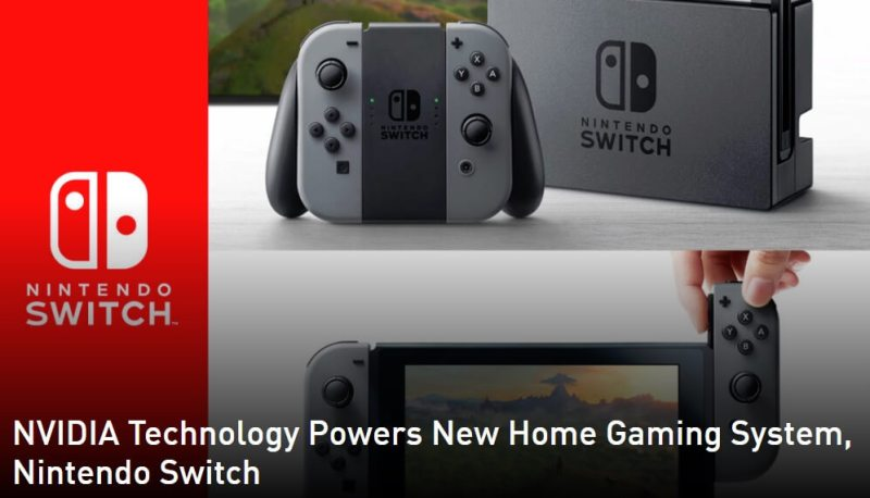 Nvidia's custom Tegra chip powers the Nintendo Switch.