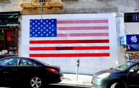 A United States flag painted on the wall in the Chinatown neighborhood of San Francisco