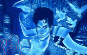 A mural of Prince aka The Purple One modified with the Ice filter using the Icon8 Telegram bot.