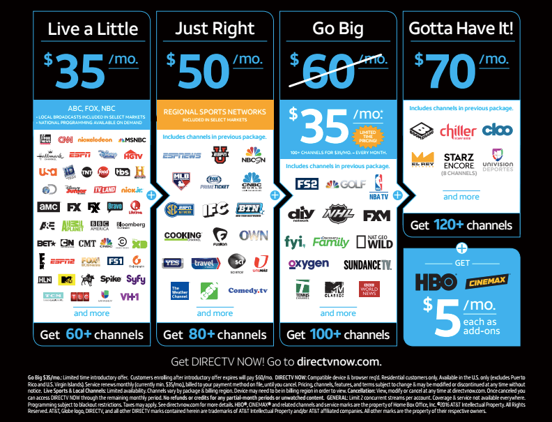 DirecTV Now streaming services
