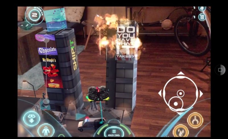 Air Hogs Connect: Mission Drone blends reality and animations on a smartphone or tablet screen.