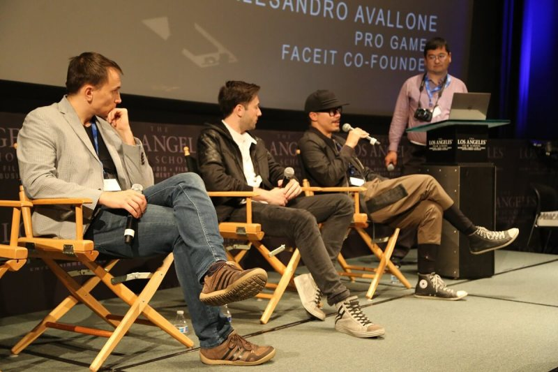 (Left to right) Michael Blicharz, vice president of pro gaming at ESL; Allesandro Avallone, cofounder of Faceit; Rod Chong, Slightly Mad Studios; and Dean Takahashi of GamesBeat.