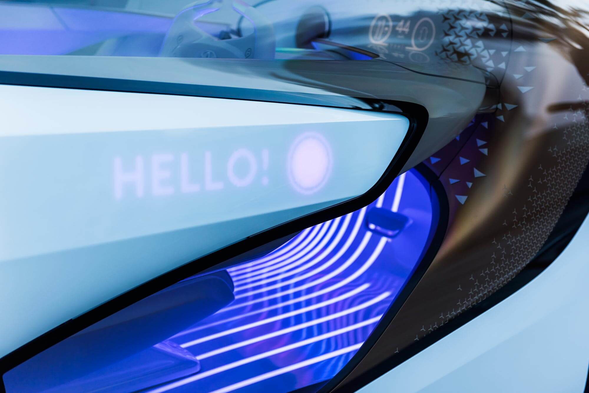 Rendering showing the messages displayed on the rear panel of Toyota's Concept-i vehicle.