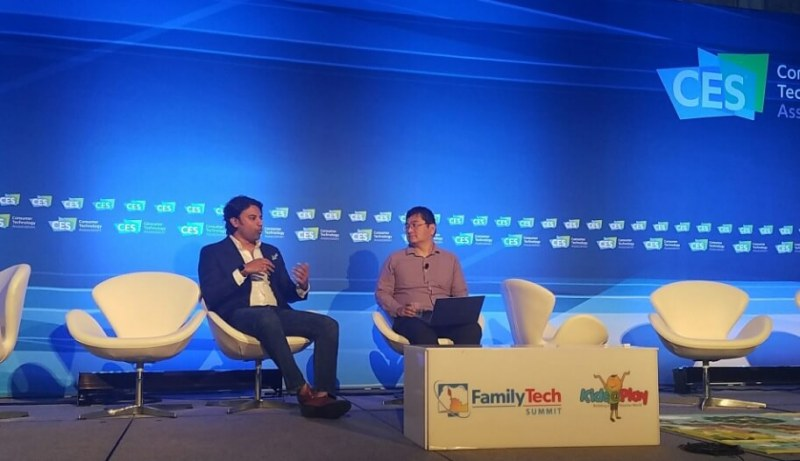 Archit Bhargava (left) and Dean Takahashi on stage at CES 2017.