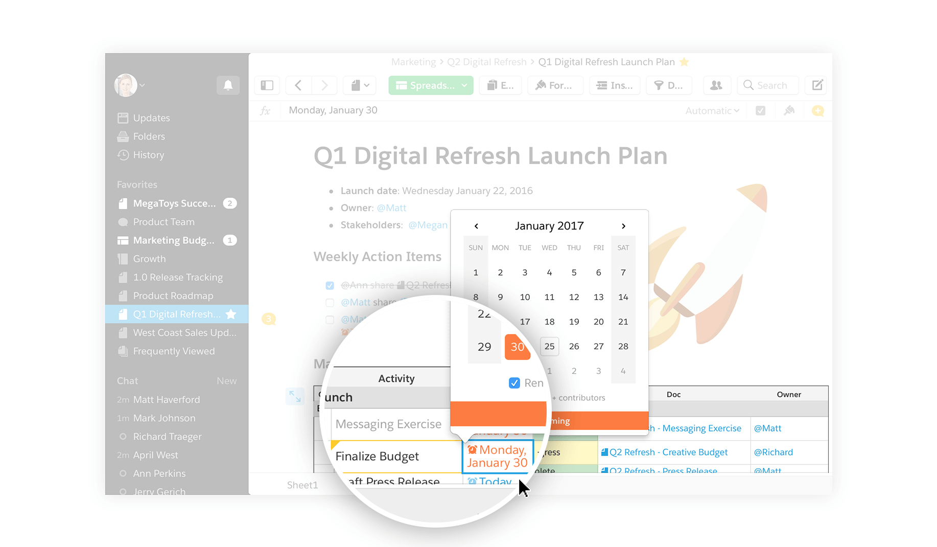 Quip reminders within checklists