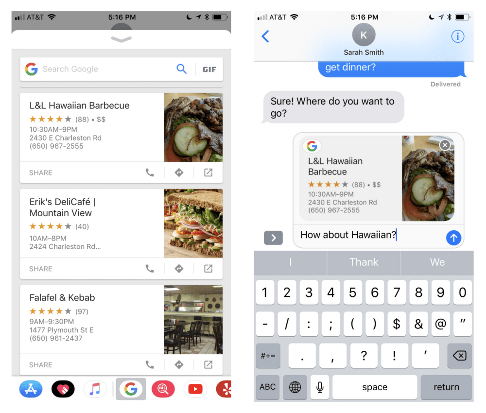 google search results now available in apple s imessage app drawer [ 1000 x 850 Pixel ]